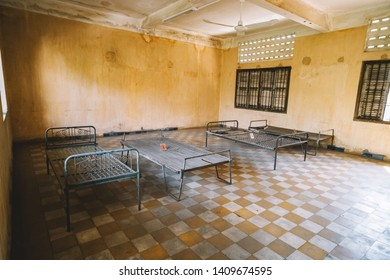 Prison of the Khmer Rouge high school S-21 turned into a torture and execution center. Of the 20,000 people known to have entered, only seven survived. instruments of torture of the Khmer Rouge.