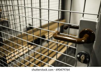 Prison or locker room at school.