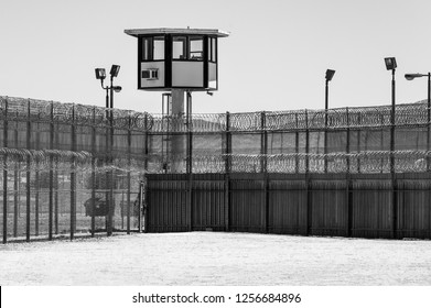 Prison Yard Empty with guard tower