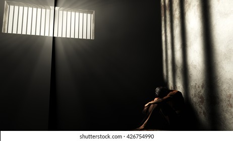Prisoner in Bad Condition in Demolished Solitary Confinement under Lightrays 3D Illustration