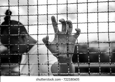 prisoner man in black and white tone