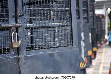 prisoner transport vehicle in a park
