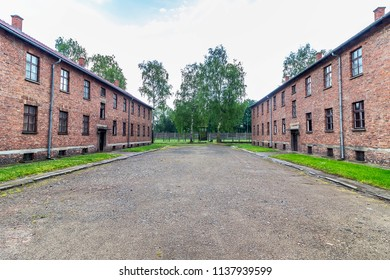 Prisoner's barrack in Auschwitz  concentration and extermination camp built and operated by Nazi Germany in German-occupied Poland by the Third Reich durin world war ii