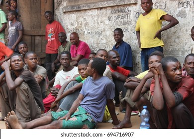 Prisoners at Kenge Prison, Democratic Republic of Congo. July 2015. The prison was built for 35 people, however there were 70 at that time. They lacked food and water.