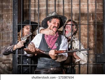 Prisoners Revolt in an Old West Jail