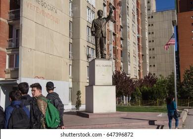 PRISTINA, KOSOVO - APRIL 25, 2017: Bill Clinton statue on the corner of Bill Clinton Boulevard.