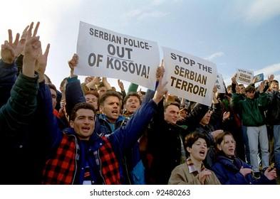PRISTINA, KOSOVO - MARCH 13:  Ethnic Albanians take to the streets of the Kosovo capital Pristina in protests against Serb repression on March 13, 1998 in Pristina, Kosovo