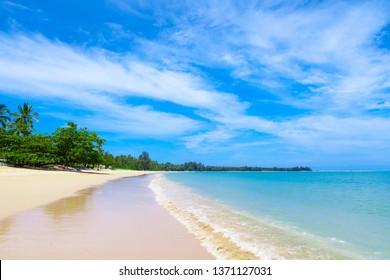 Pristine beach in Khao Lak close to phuket island on the Andaman coast. - Shutterstock ID 1371127031
