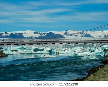 Pristine Iceland glacier against blue skies.