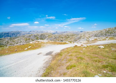 pristine norwegian landscape along the popular tourist road Lysevegen in Forsand in Ryfylke (FV500)
