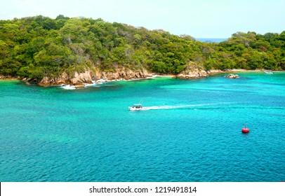 Pristine Ocean and Forest. Santa Cruz Bay, Huatulco, Mexico