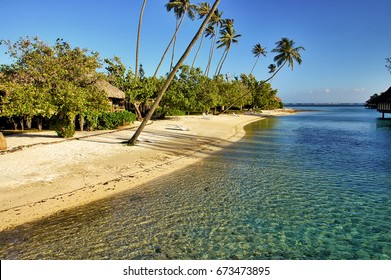 Pristine South Pacific island beach with palm trees and tropical vegetation