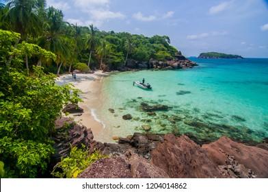 Pristine, turquoise ocean waters in Phu Quoc island, Vietnam.