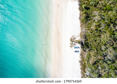Pristine white sand beach on the western side of Fraser Island, QLD, Australia