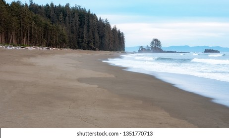 A pristine wilderness beach along the West Coast Trail of Vancouver Island, British Columbia, Canada.
