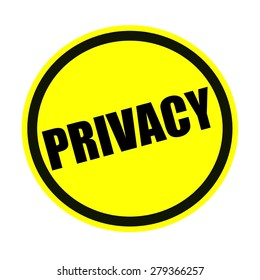 Privacy black stamp text on yellow