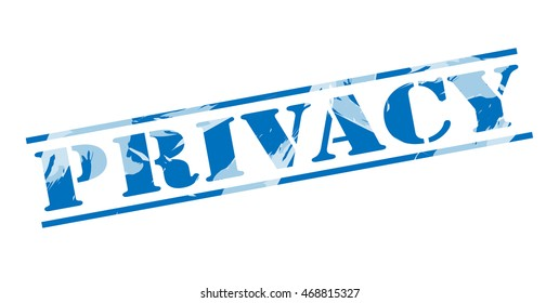 privacy blue stamp on white background
