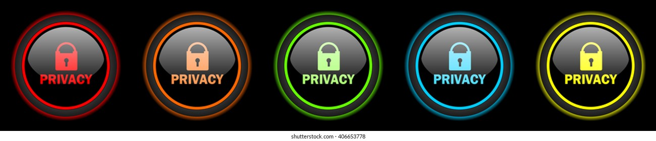 privacy colored web icons set on black background