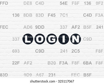 Privacy concept: Painted black text Login on White Brick wall background with Hexadecimal Code