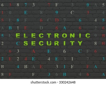 Privacy concept: Painted green text Electronic Security on Black Brick wall background with Hexadecimal Code