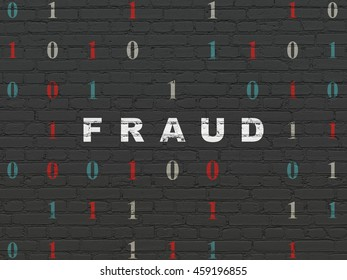 Privacy concept: Painted white text Fraud on Black Brick wall background with Binary Code