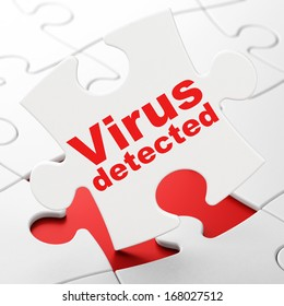 Privacy concept: Virus Detected on White puzzle pieces background, 3d render