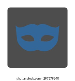 Privacy Mask icon from Primitive Buttons OverColor Set. This rounded square flat button is drawn with cobalt and gray colors on a white background.