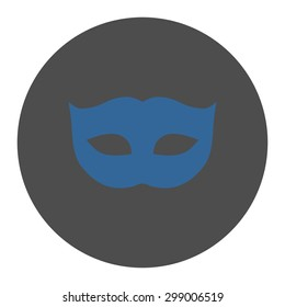 Privacy Mask icon from Primitive Round Buttons OverColor Set. This round flat button is drawn with cobalt and gray colors on a white background.