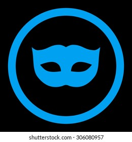 Privacy Mask raster icon. This rounded flat symbol is drawn with blue color on a black background.
