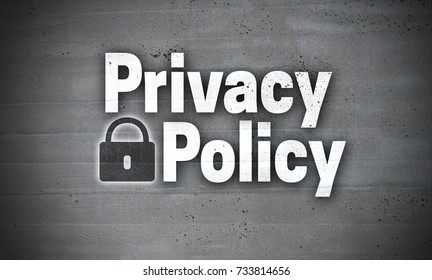 Privacy Policy on concrete wall background.