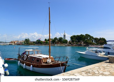 Private boats in the Mediterranean sea near Croatian resort town Novigrad