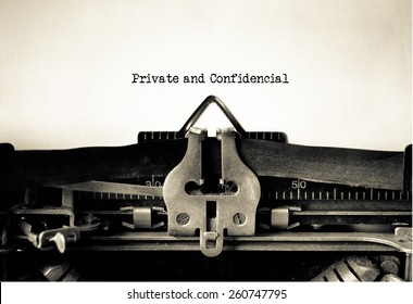 Private and Confidential typed on vintage typewriter