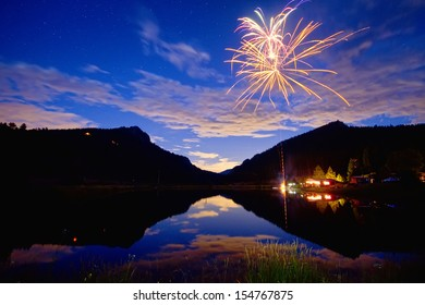 Private Fireworks show high up in the Colorado Rocky Mountains looking out into the plains.
