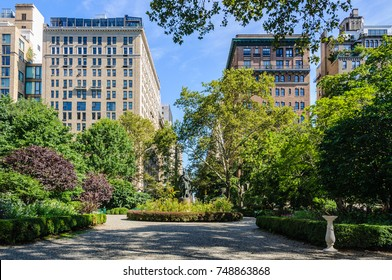 The private Gramercy Park, New York City, USA