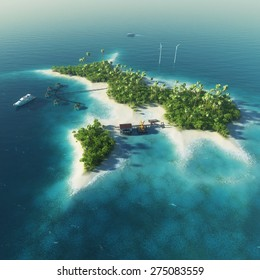 Private island. Paradise tropical island with wind turbines energy, bungalows, super yacht and helicopter