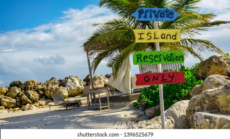 Private island reservation only sign at Royalton White Sands Resort in Montego Bay, Jamaica