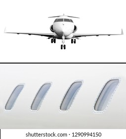 Private Jet Aircraft Isolated on white and Windows Detail