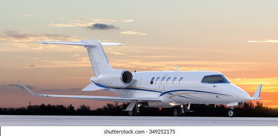 Private jet at the airport ready for take off