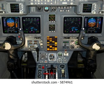 Private jet, Gulfstream, instrument panel detail
