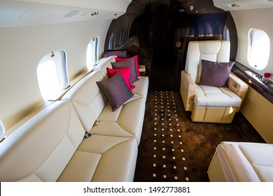 Private jet interior. Business jet flight. Luxury lifestyle. Business trip. Luxury travel. VIP flight.