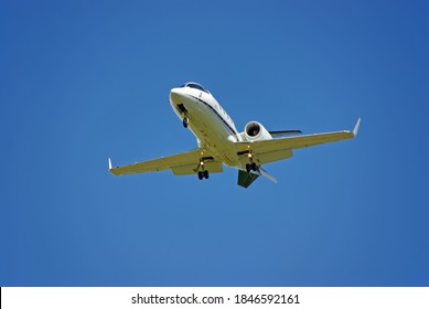 Private Jet landing in an airport