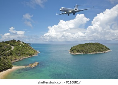 Private jet plane is going to land at the airport of a tropical island. Luxury style living concept.