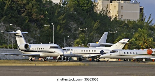 private jets on the ramp