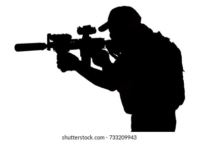Private Military Contractor with carbine M4 black silhouette