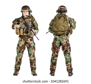 private military contractor holding rifle. war, army, weapon, technology and people concept. Image on a white background.