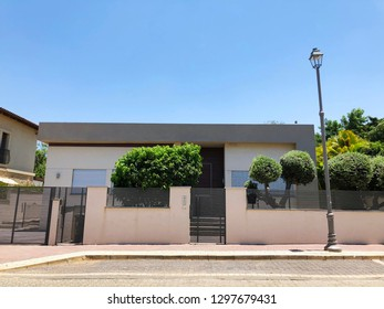 Private modern house and  trees in Rishon Le Zion, Israel.