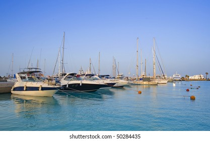 Private motor yachts in a marina