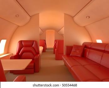 Private plane interior with custom design