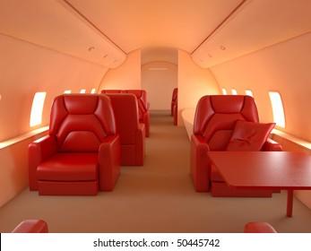 Private plane interior with custom reddish design