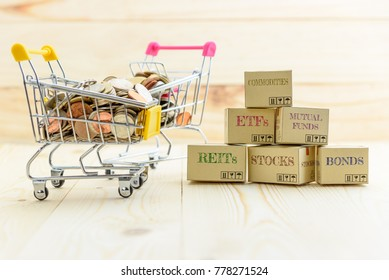 Private portfolio and wealth management with risk diversification concept : Paper boxes of financial instruments i.e ETFs, REITs, stocks, bonds, mutual funds, commodities and shopping cart with coins.